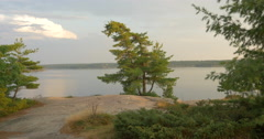 Stock Video Footage of Beautiful scenery of the lake, trees and rocks at Killbear Provincial Park