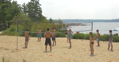 Stock Video Footage of View of people playing beach volleyball at Killbear Provincial Park