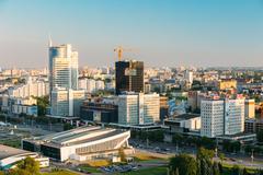 Cityscape and Pobediteley Avenue in Minsk, Belarus - stock photo