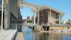 OSLO - NORWAY, AUGUST 2015: people swimming, astrup fearnley museum Stock Footage