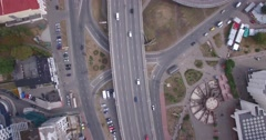 Aerial view of two-level road junction in the big city. Stock Footage