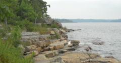 Beautiful rocky shore of the lake at Killbear Provincial Park Stock Footage