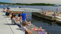 OSLO - NORWAY, AUGUST 2015: people swimming scandinavian waters - stock footage
