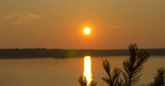Amazing view of sun setting on lake at Killbear Provincial Park - stock footage