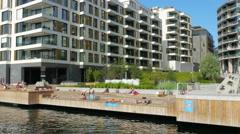 people swimming scandinavian waters in oslo, norway - stock footage