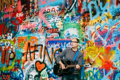 Stock Photo of Famous place in Prague - The John Lennon Wall, Czech Republic