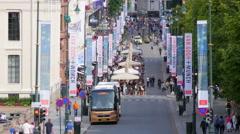 OSLO - NORWAY, AUGUST 2015: karl johans gate street view Stock Footage