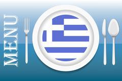 Ready for serving Greek cuisine vector - stock illustration
