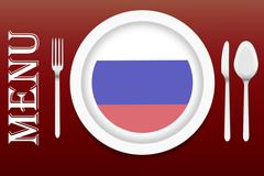 Ready for serving Russian cuisine vector Stock Illustration