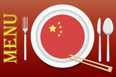 Ready for serving Chinese cuisine vector Stock Illustration