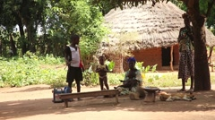 Africa native village family staring to camera Stock Footage