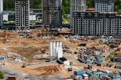 Construction of multi-storey residential house - stock photo