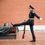 Post honor guard at the Eternal Flame in Moscow at the Tomb of the Unknown Stock Photos