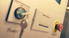 The emergency button shutdown of industrial equipment in the case of accident Stock Footage