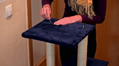 Screwing scratching post with Allen wrench Stock Footage