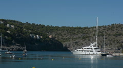 Yacht in Spanish Bay Stock Footage