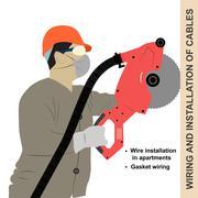 Mounting wiring - stock illustration