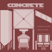 Concrete production and delivery Stock Illustration