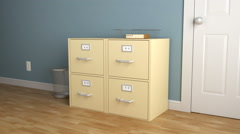 A slow zoom into yellow filing cabinets. - stock footage