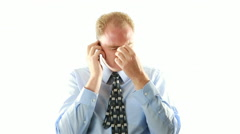 Stressed Business On Cell Phone - stock footage