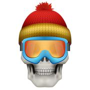 Human skull with winter hat and goggles Stock Illustration