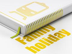 Stock Illustration of Vacation concept: book Train, Family Holiday on white background