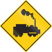 Warning road sign in Thailand - Unguarded railroad crossing Stock Illustration