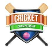 Stock Illustration of Label for cricket sport competition. Bright premium design.  Illustration