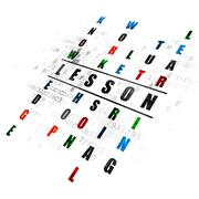 Studying concept: Lesson in Crossword Puzzle - stock illustration