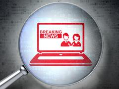 News concept: Breaking News On Laptop with optical glass on digital background - stock illustration