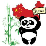 Stock Illustration of Little  cute panda  with bamboo and Chinese flag