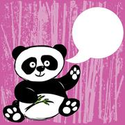 Panda with bamboo branch Piirros