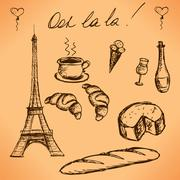 Eiffel Tower and French food. Vintage hand drawn picture. vector Stock Illustration