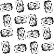 Photo cameras, hand drawing Seamless pattern - stock illustration