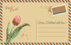 Vintage postcard with tulip - stock illustration