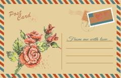 Stock Illustration of Vintage postcard with  Rose flower