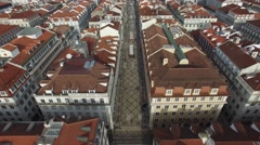 Rua Augusta with the famous Augusta Arch in Lisbon, Portugal - stock footage