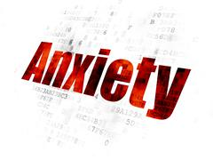 Health concept: Anxiety on Digital background - stock illustration