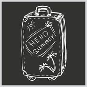 The suitcase with the words hello summer, hand drawing - stock illustration