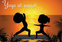 Silhouette Couple man and woman doing yoga on the beach at sunse - stock illustration