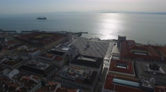 Aerial View of Commerce Square in Lisbon, Portugal - stock footage
