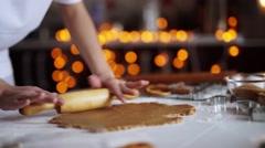 woman hands. Traditional homemade christmas dessert - stock footage