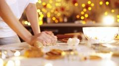 Woman hands. Traditional homemade christmas dessert Stock Footage