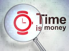 Stock Illustration of Time concept: Hand Watch and Time Is money with optical glass