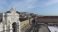 Augusta Arch in Lisbon, Portugal Stock Footage