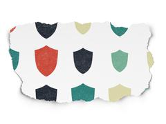 Protection concept: Shield icons on Torn Paper background Stock Illustration