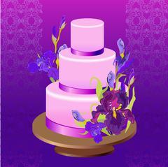 Wedding cake with purple iris flower design. Vector illustration. - stock illustration