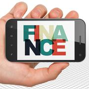 Banking concept: Hand Holding Smartphone with Finance on  display Stock Illustration