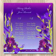 Table guest list. Background with purple iris flowers. Wedding template. - stock illustration