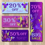 Stock Illustration of Big sale printable card template with purple iris flower design.